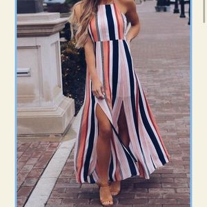 LE LIS Stitchfix Striped Maxi Dress Side Slits Med